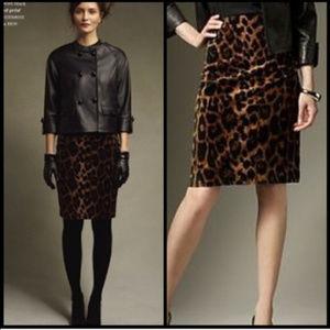 Faux Fur Leopard Animal Print Pencil Skirt